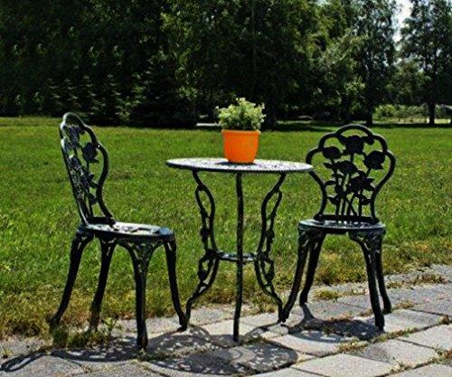 Jardinion Balkonset 3-teilig, 1 Tisch, 2 Stühle, grün, Design Gartenmöbel, Eisen Aluminium,...