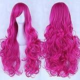 Zinsale 80cm Largo Natural Resistente al calor Lolita Rizado Peluca Cosplay (Rojo rosa)