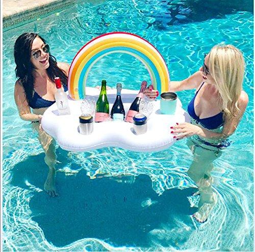 Portabottiglie gonfiabili rainbow cloud, fori per bevande e 1 groove rettangolare, decorazioni per il divertimento in acqua per la festa in piscina