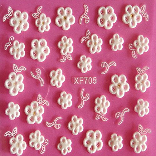 EVTECH (TM) 5 PCS Nail Art Nail Sticker outil 3D Autocollant Craved Fleurs Heart Love Nail Sticker Tatoo