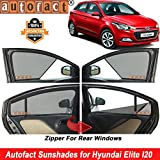 #8: Autofact Half Magnetic Window Sunshades/Curtains for Hyundai Elite I20 [Set of 4pc - Front 2pc Half Without Zipper ; Rear 2pc Full with Zipper] (Black)