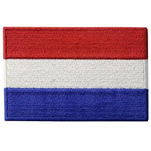 EmbTao Die niederländische Flagge Bestickter Aufnäher zum Aufbügeln/Annähen