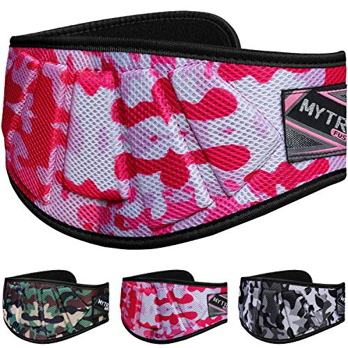 Mytra Fusion Ultra Sleek Camo Fitness Weight Lifting Belt for Heavy Lifting, Crossfit, Bodybuilding (Camo Pink, Large) - Fusion Bodybuilding