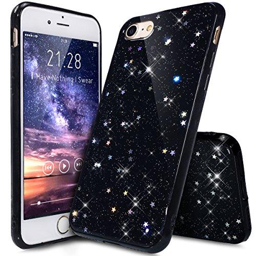 Kompatibel mit iPhone 8 Hülle,iPhone 7 Hülle,Shiny Glänzend Bling Glitzer Sterne Pailletten Diamond Diamant TPU Silikon Hülle Tasche Case Durchsichtig Handyhülle Schutzhülle für iPhone 8/7,Schwarz A