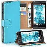 moex HTC Desire 626G | Hülle Türkis mit Karten-Fach 360° Book Klapp-Hülle Handytasche Kunst-Leder Handyhülle für HTC Desire 626G/626 Case Flip Cover Schutzhülle Tasche