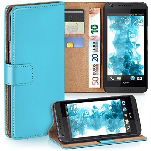 MoEx HTC Desire 626G | Hülle Türkis mit Karten-Fach [OneFlow 360° Book Klapp-Hülle] Handytasche Kunst-Leder Handyhülle für HTC Desire 626G/626 Case Flip Cover Schutzhülle Tasche