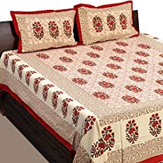 JAIPUR PRINTS Rajasthani Prints Bedsheet For Double Bed Cotton jaipuri printed Bedsheets