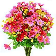 turelifes 4piezas Flores Artificiales ramilletes Artificial Mini margarita 7Ramas 28cabezas flores de seda para oficina casa decoración de la boda