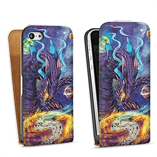 Apple iPhone 5 Housse étui coque protection Dragon Imagination Rêve Sac Downflip blanc