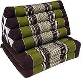 Guru-Shop Thaikissen, Dreieckskissen, Kapok, Tagesbett mit 2 Auflagen - Braun/grün, 30x50x120 cm, Asiatisches Sitzkissen, Liegematte, Thaimatte