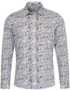 Almsach Trachtenhemd Ingo Slim Fit Mehrfarbig in Weiß und Blau Inklusive Volksfestfinder