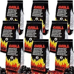 Deuba 9kg Briquetas de carbón Vegetal para Barbacoa braseros parrilladas chispas Bajas brasas Exterior 3 x 3kg Grill