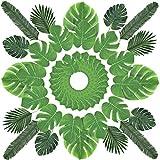 60PCS Grandes Feuilles Tropicales Artificielles Feuille de Simulation pour Chemin de Table Décorations Palmier Feuille de Mariage Party Anniversaire Luau Hawaïen Jungle Beach Thème Party