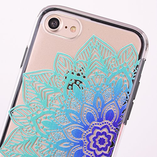 Custodia iPhone 7, iPhone 7 Cover, SainCat Custodia in Plastica Protettiva Cover per iPhone 7, 3D Design Transparent Hard Case Ultra Slim Sottile Transparent Hard PC Cover Shock-Absorption Protettiva  Fiori Metà blu
