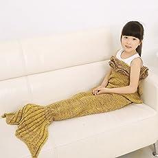 Meerjungfrau Schwanz Decke, ruvalino handgefertigt Crochet Meerjungfrau Decke, alle Jahreszeiten Schlafsack für Kinder 140* 70cm