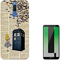 "Vintage News Alice In Wonderland Doctor Who Tardis Call Box Butterflies Huawei Mate 10 Lite 5.9"" Carcasa de Gel de Silicona Case Cover"
