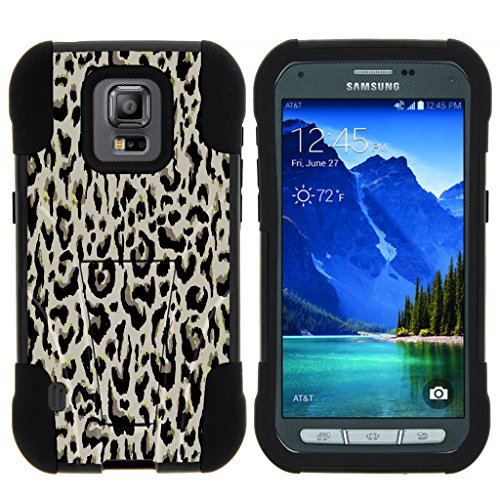 turtlearmor | Samsung Galaxy S5 Active Schutzhülle | G870 [Gel Max] High Impact Dual Layer Hybrid Silikon Hard Shell Case Ständer Einzigartige Cool Designs -, Fainted Leopard Print