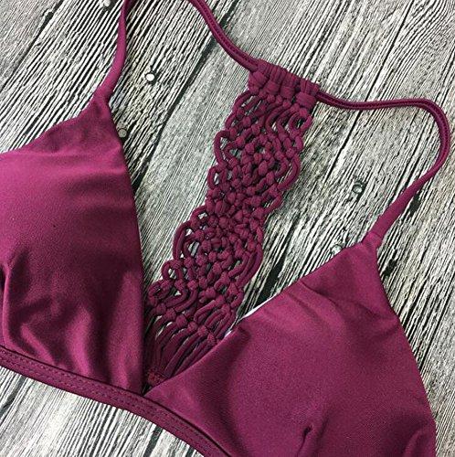 Cliont Frauen gepolsterte Push up Weave Bikini Set Badeanzug Zwei Stück Badeanzug Rot