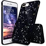 "Coque iPhone 7 Plus,Étui iPhone 7 Plus,iPhone 7 Plus Case,ikasus® Coque iPhone 7 Plus Silicone Étui Housse Paillette étoile Téléphone Couverture TPU avec Modèle de diamant brillant paillettes bling brillant diamant glitter Ultra Mince Premium Semi Hybrid Crystal Clear Flex Soft Skin Extra Slim TPU Case Coque Housse Étui pour Apple iPhone 7 Plus 5.5"" - Noir A"