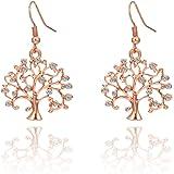 Orecchini pendenti a forma di albero della vita da donna, ipoallergenici, placcati in oro rosa, con cristalli CZ brillanti