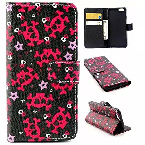 Gift_Source iPhone 6 hülle, iPhone 6S hülle, Brieftasche Ledertasche Bookstyle Schutzhülle Leder Flip case Etui for Apple iPhone 6S/6 4.7 inch [ Regenbogen ] E01-01-Skull