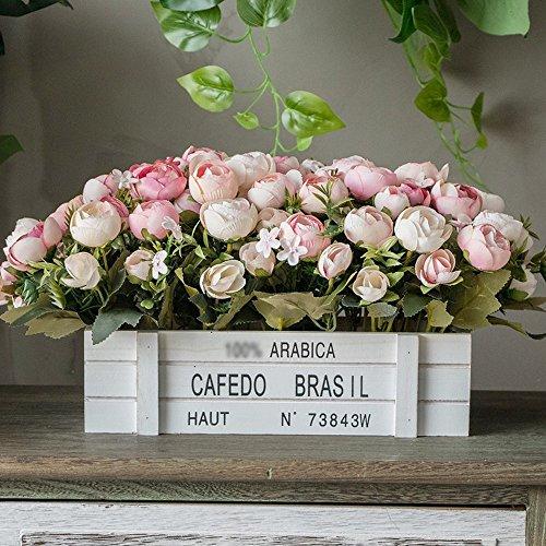 Jnseaol fiori artificiali fiori artificiali fiori finti regali vacanza fai da te festa di matrimonio hotel home decor portavasi in legno un grande ornamento rosa -01