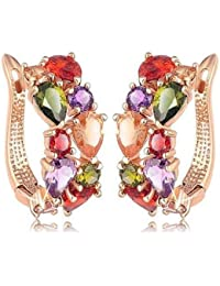 Chooseberry Rose Gold Plated Sparkling Colors Flowerets Vine AAA Swiss Multicolour CZ Clip On Earrings For Women...