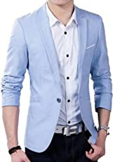 One click Men's Sky Blue Blazer for Party Wear