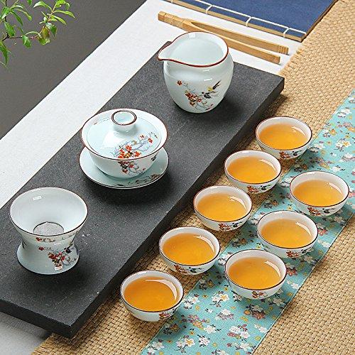 SSBY Kung Fu tè set Ceramica Porcellana Lidded-Cup tazzina teiera combinata Vassoio,fiori (Personalizzata Cucchiaio Da Bambino)