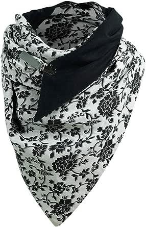 Sciarpa calda da donna, invernale, con stampa, con bottone, sciarpa morbida e casual