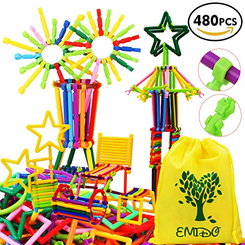 EMIDO Gebäude Spielzeug 480 Stück Verschiedene Shaped Interlocking Plastic kreativem Engineering Bausteine Spielzeug Lernspielzeug - Foster Kinder Kreativität, Fantasie, Farberkennung und Teamwork, Kleinkinder ab 3 Jahre (Gebäude Spielzeug)