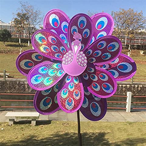 Dairyshop Kids Toy Double Layer Peacock Laser Sequins Windmill Colorful Wind Spinner (Purple)