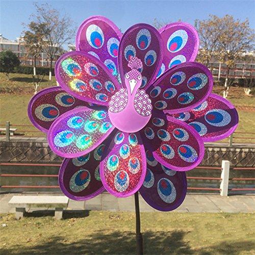 zrshygs Indmills para niños Jardín Doble Capa Lentejuelas Peacock Molino de Viento Colorido Viento Spinner Kids Toy PL