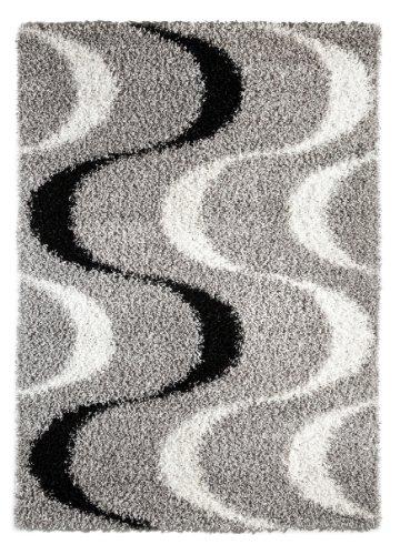 Luxor Living La Rochelle Shaggy Hochflor Teppich, Polyester, Welle schwarz-Weiss, 140 x 200 cm