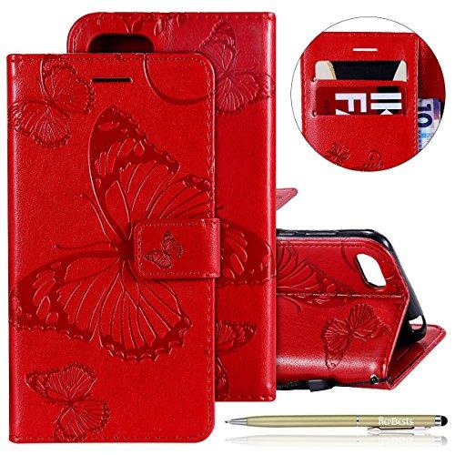 Herbests Leder Handy Schutzhülle für Huawei Y5 2018 Lederhülle Schmetterling Muster Leder Handyhülle Handytasche Brieftasche Ledertasche Bookstyle Flip Case Cover Klapphülle,Rot