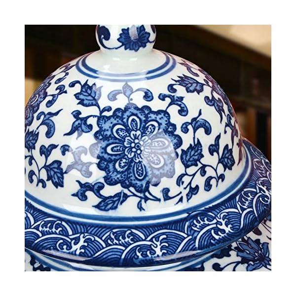 ufengke Jingdezhen Jarrón de Porcelana Azul y Blanco,Florero,Estilo de China Ming,15″(38cm) Altura