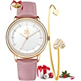 SHENGKE Set da regalo per donna, cinturino in pelle al quarzo, semplice orologio da donna, vestito da ragazza, orologio da po