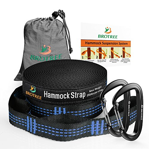 Brotree 2 Pack XL Hammock Tree Straps - 13 Feet Long with 20+1 Loops & 2 Aluminum Carabiners for Camping Hiking Backyard - Lightweight, Heavy Duty and No Stretch