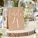 Tisch-Nummern / Zahlen-Aufsteller 1 - 12 aus Pappe in Braun & Weiß im Vintage-Stil - Tisch-Dekoration / Gedeckter Tisch / Tisch-Ordnung / Hochzeits-Dekoration / Geburtstags-Feier