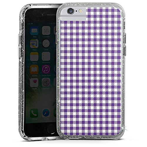 Apple iPhone 7 Plus Bumper Hülle Bumper Case Glitzer Hülle Karo Lila Pattern Bumper Case Glitzer silber
