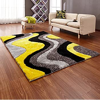 NEW BRIGHT YELLOW BLACK SILVER GREY COLOURFUL LUXURIOUS ...
