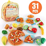 JoyGrow 31PCS Cutting Toys Play Food Fruits Vegetable Kitchen Playset Educational Learning Toy Boy Girl Kid with Backpack Sto