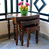 #4: Credenza Nesting Tables Wood Set of 3 Stools (Walnut Finish, Brown)