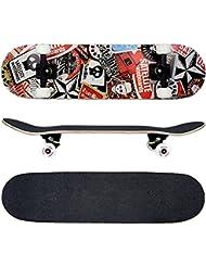 FunTomia® Skateboard Planche Érable canadien 7 Plis charge max 130 kg, avec roues et ABEC-11 + sac inclus (Plusieurs coloris charge)