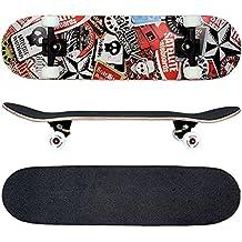 FunTomia® Skateboard FunTomia con rodamientos ABEC-11 y rodillos de dureza 100A - hecho con 7 capas de madera 100% arce canadiense (satellite - calavera)