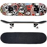 FunTomia Skateboard mit ABEC-11 Kugellager und Rillen-Profil Rollen (Rollenhärte 100A) aus 100% 7-lagigem kanadischem Ahornholz (Es stehen verschiedene Farbdesigns zur auswahl) (Satellite Totenkopf)