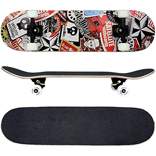 FunTomia� Skateboard 31 INCH (78,5cm) with a Canadian 7-ply maple deck / MACH1� ABEC-11 High Speed bearings / Wheels 53x34mm 100A (satellite)