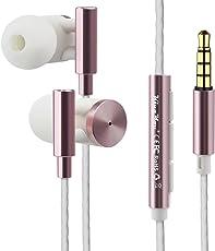 Kingyou in Ear Kopfhoerer Wired Kopfhörer Stereo Metall Ohrhörer mit Lautstärkeregler und Mikrofon 3,5mm Klinkenbuchse für iPhone und Andriod-Geräte(Rosa)