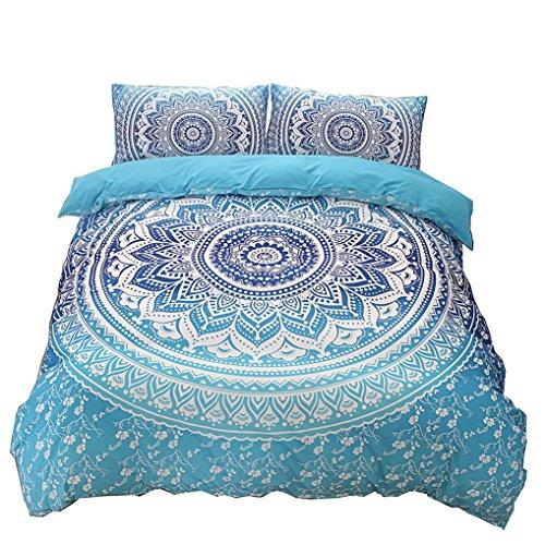 Juego de Cama Funda de Edredón Bohemio Mandala Ropa de Cama Para Dormitorio + 2 Fundas de Almohada, Algodón Poliéster, Azul Púrpura y Negro Double Queen King Size (220x240cm, Azul)