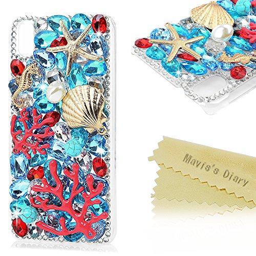 Mavis's Diary Case für HTC Desire Eye Hülle Tasche PC Hardcase Plastik Glanz Glitzer-Strass Case Schutzhülle 3D Muster süße Meerestier Unterwasserwelt,Strasstein Handmade Durchsichtig Bumper Handycover